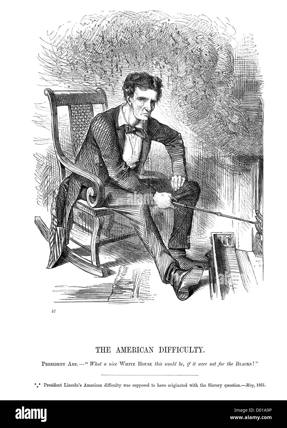 Political Cartoon Of President Abraham Lincoln Worrying Over The