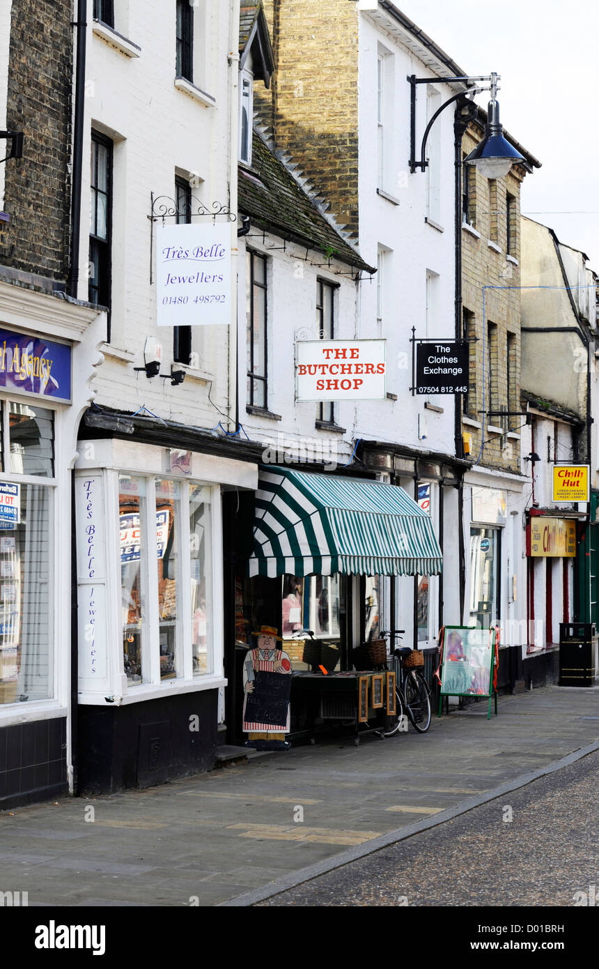 Local shops in St Ives, Cambs. - Stock Image