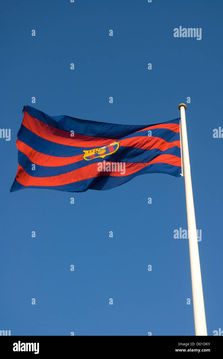 flag Barcelona football club  windy Barça flag Catalonia Spain - Stock Image