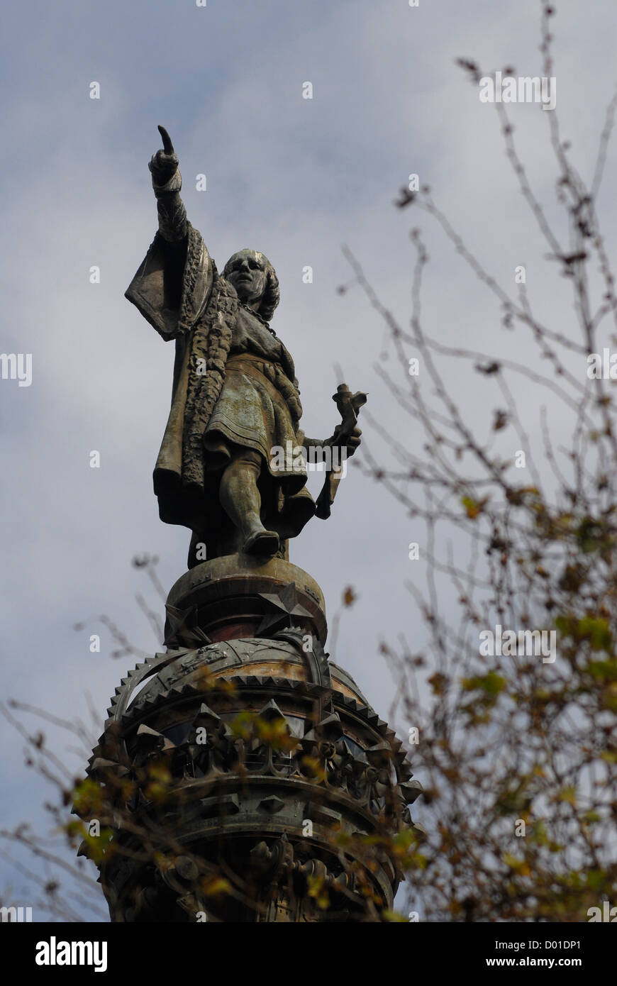 Christopher Columbus Statue monument in Barcelona, Spain - Stock Image