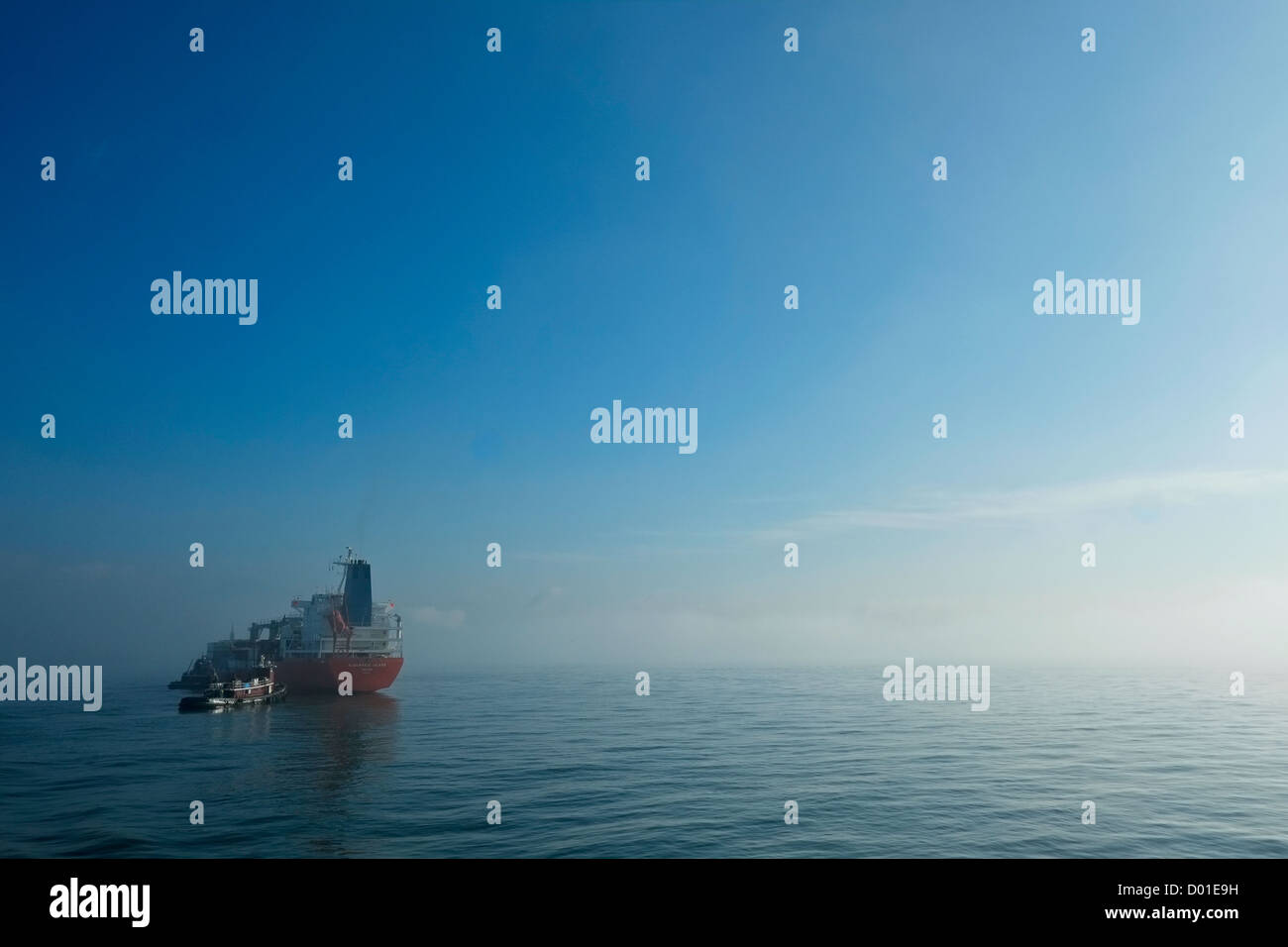 Tugboat approaches container ship Albermarle Sound in fog in New York's Upper Bay. - Stock Image