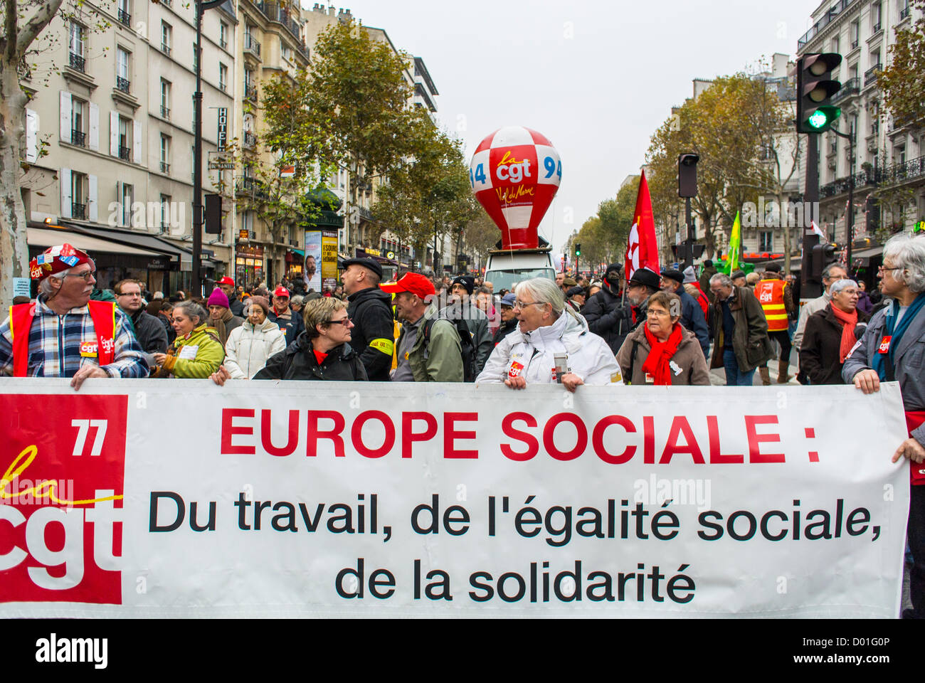Paris, France, Crowd Holding Banners at Anti-Austerity Demonstration, French Labor Unions, CGT, - Stock Image
