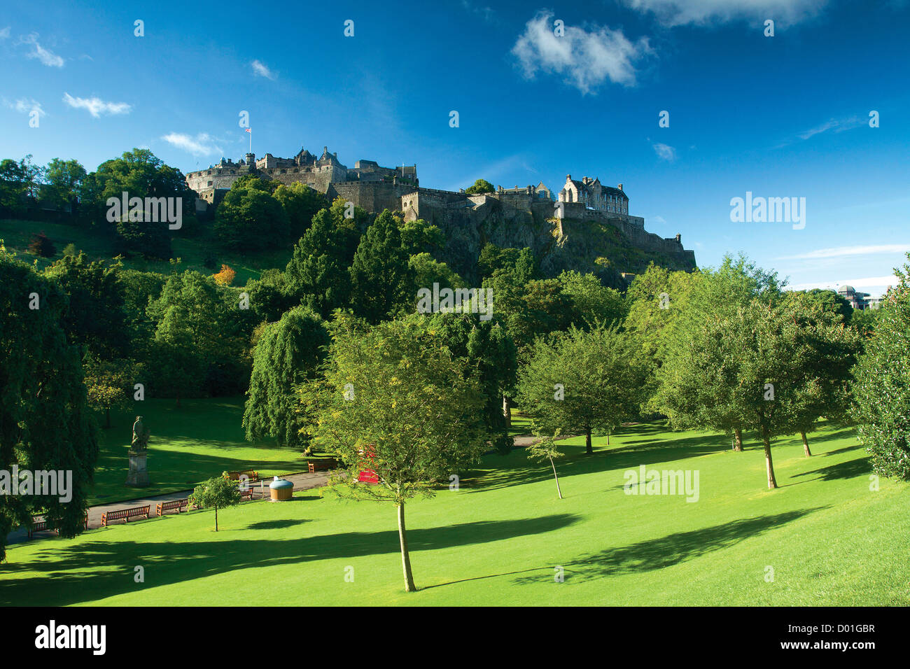 Edinburgh Castle from Princes Street Gardens, Edinburgh - Stock Image