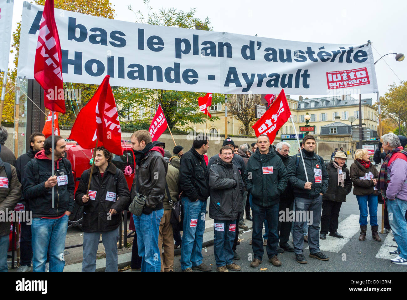 Paris, France, Crowd Holding Banners at Anti-Austerity Demonstration, French Labour Unions, CGT, - Stock Image