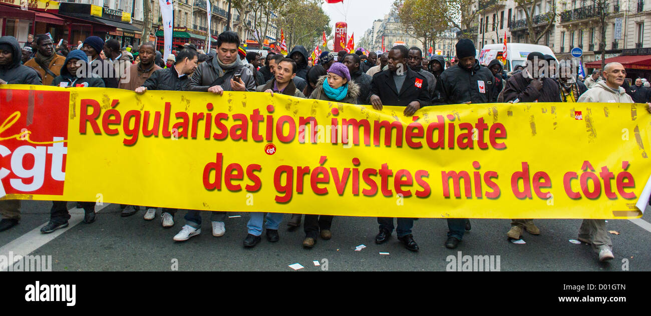 Paris, France, Anti-Austerity Demonstration, French Labor Unions, CGT, - Stock Image