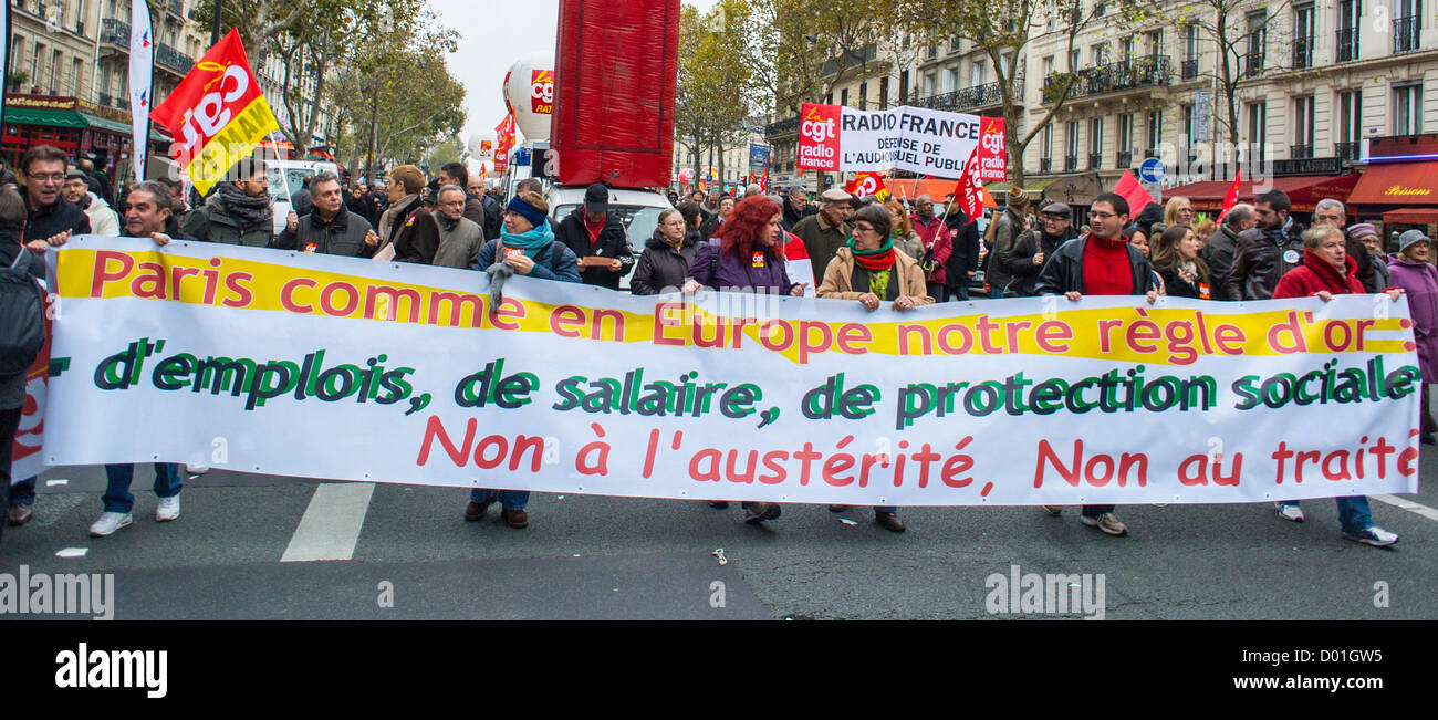 Paris, France, Anti-Austerity Demonstration, French Labor Unions, CGT, Syndicate france - Stock Image