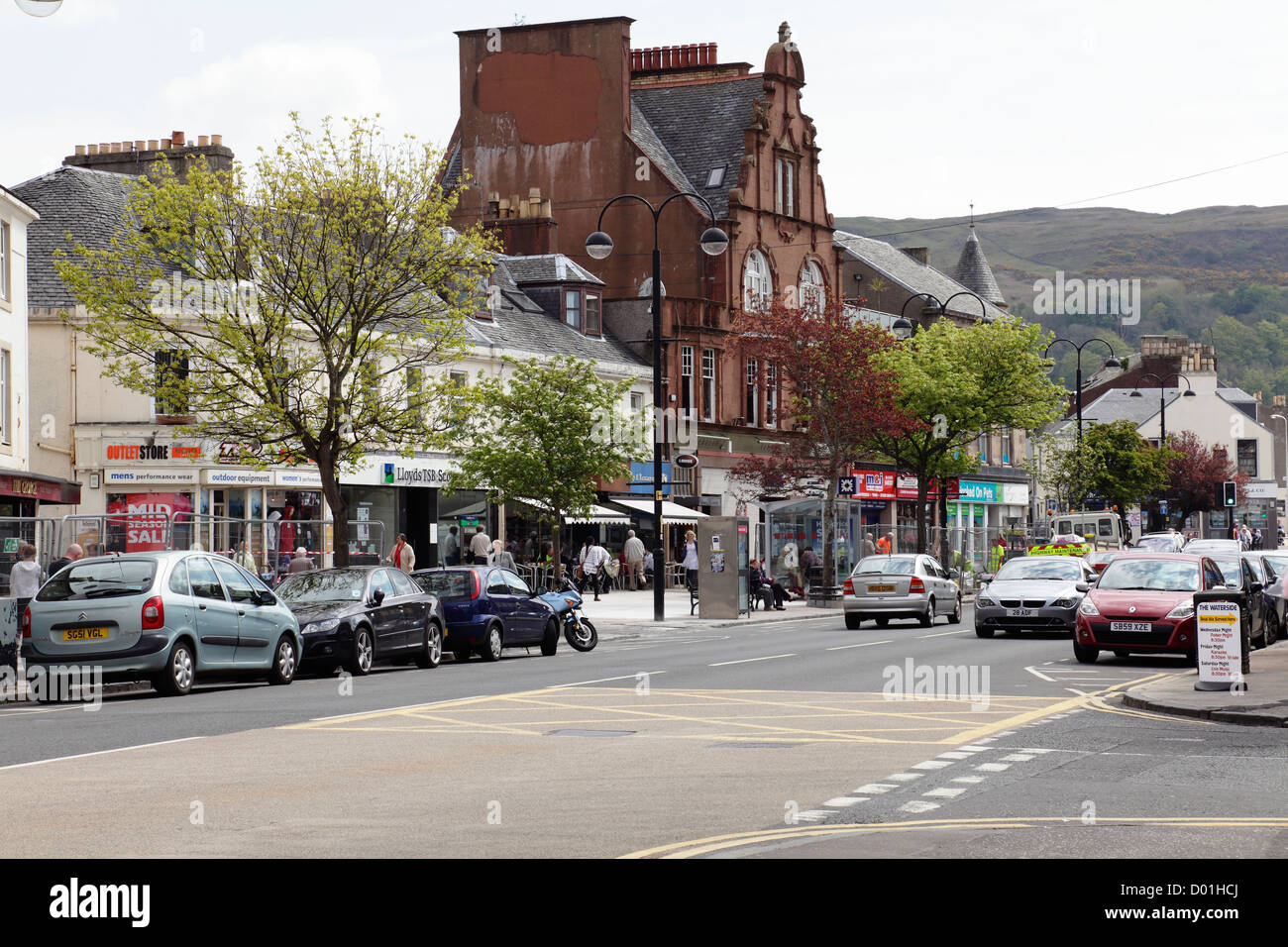 Looking East along Main Street in the seaside town of Largs in Ayrshire, Scotland, UK - Stock Image
