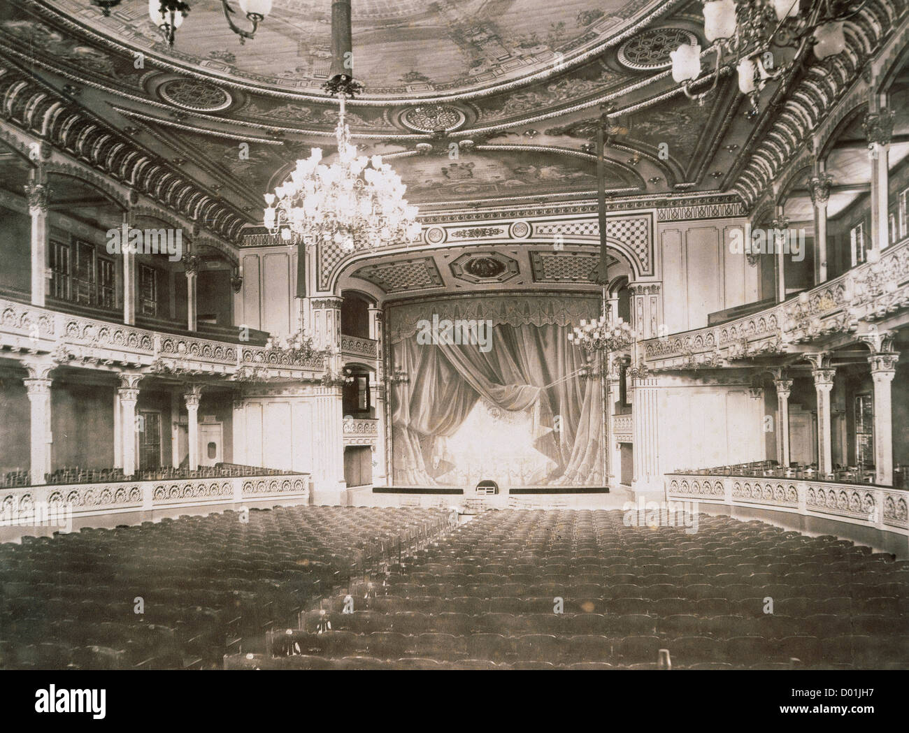 Spain. Catalonia. Barcelona. Lyric Theatre or Lyric Theatre. Beethoven room. Ancient hall and stage. Archive. Library - Stock Image