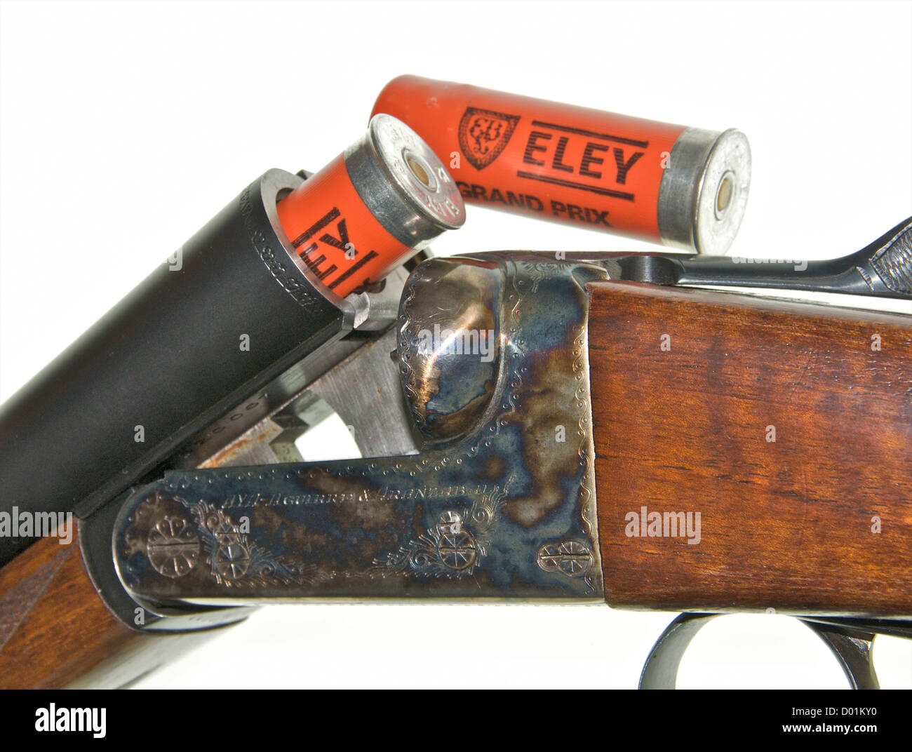 Shotgun 12 gauge bore shotgun This is an AYA No 4 Boxlock side-by-side double barreled gun 'broken' to insert - Stock Image