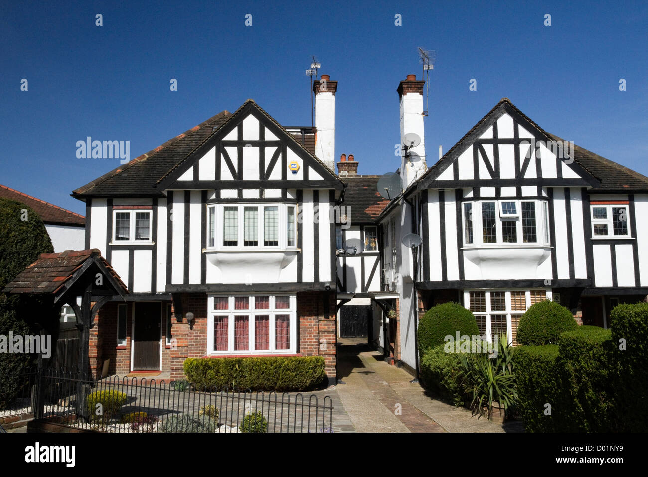 houses in Mock Tudor style in the suburb of Finchley London England - Stock Image