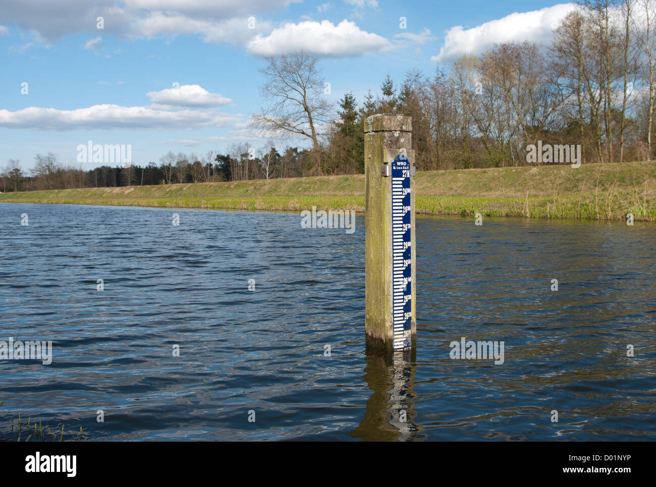 ruler indicating the height of the water above sea level (NAP) in the netherlands Stock Photo