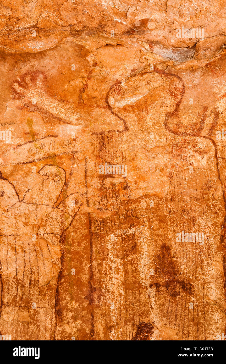 Gordon's Panel (Shaman's Gallery) Anasazi pictographs, Grand Canyon National Park, Arizona Strip, Mohave - Stock Image