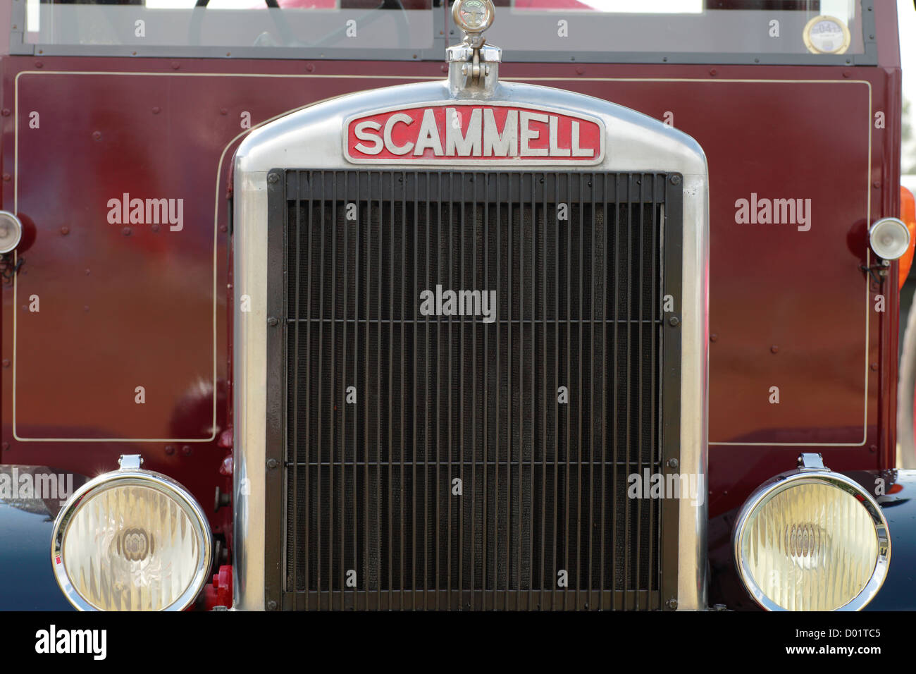 Front Radiator of traditional old Lorry Truck, Scammell - Stock Image