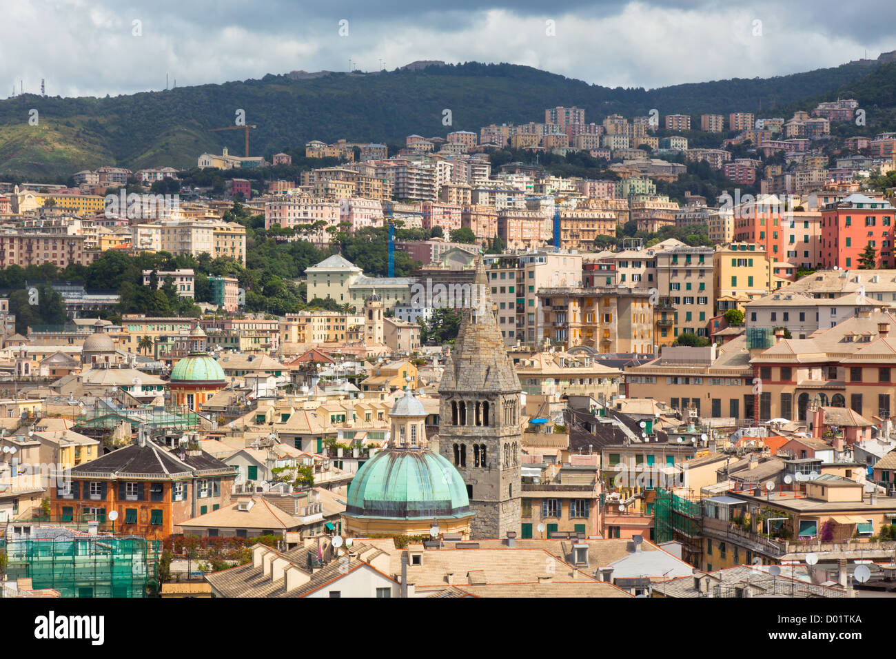 Roofs of the buildings in the city center of Genoa, Italy - Stock Image