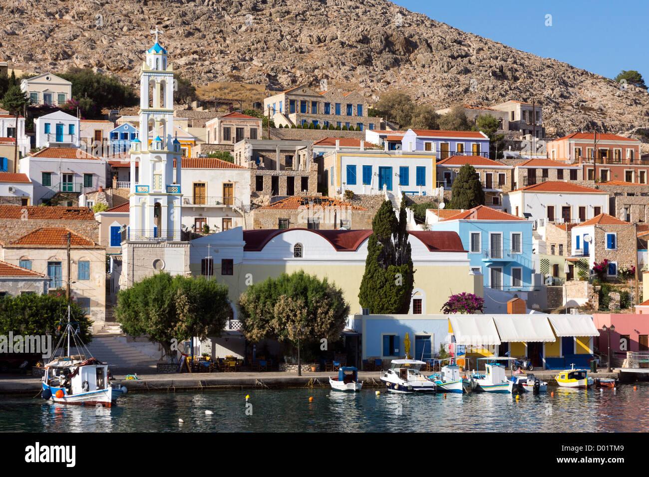 Colourful houses, Halki, Chalki, Dodekanese, Greece - Stock Image