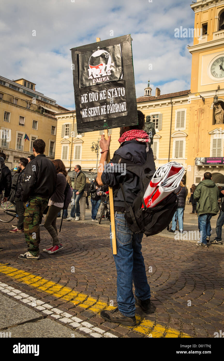 Italian demonstrates during a demonstration against austerity masseurs in Parma, Italy - Stock Image