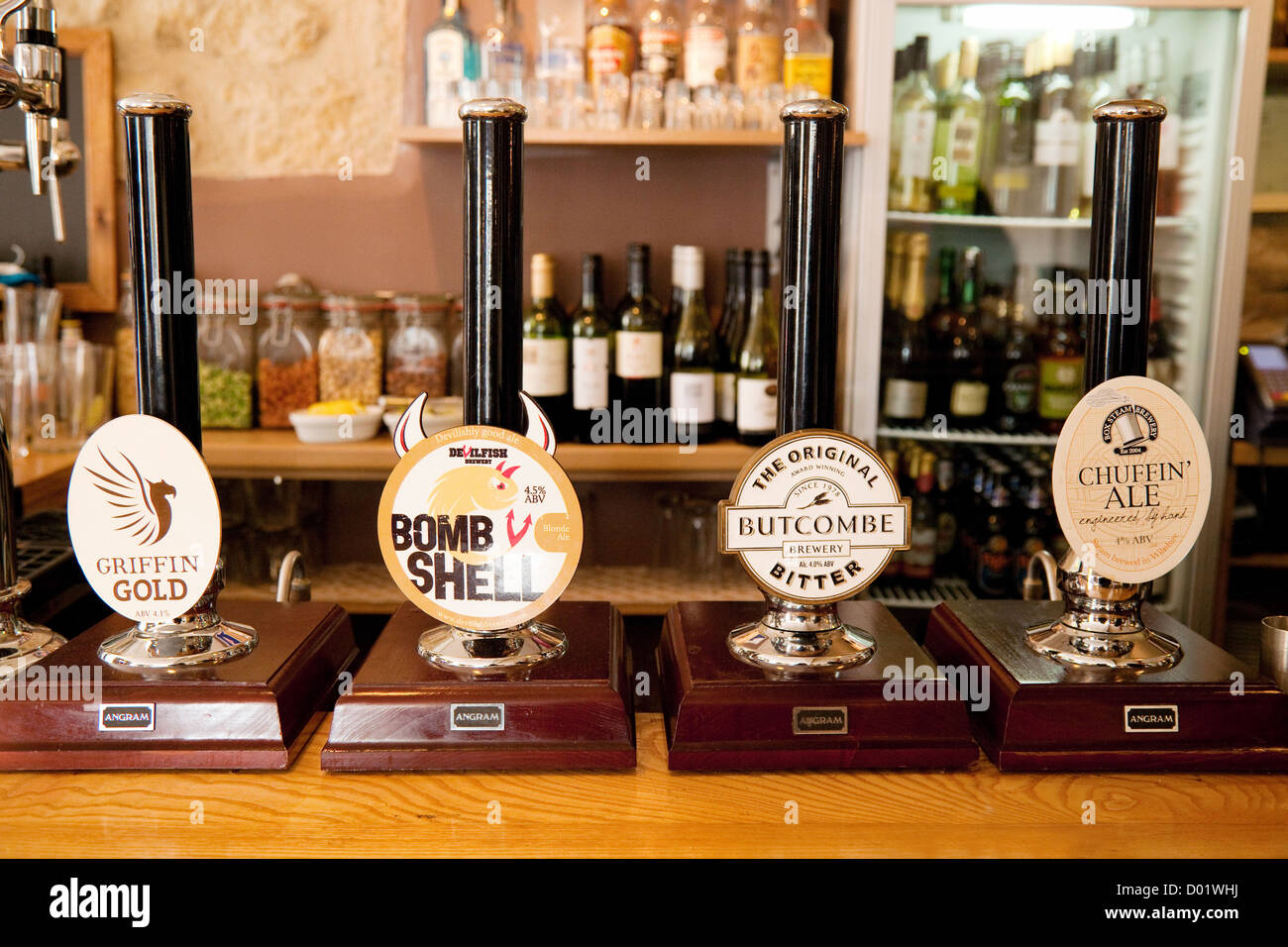 Real Ale beer pump pumps on a bar in the Griffin Inn, Bath Somerset England UK - Stock Image