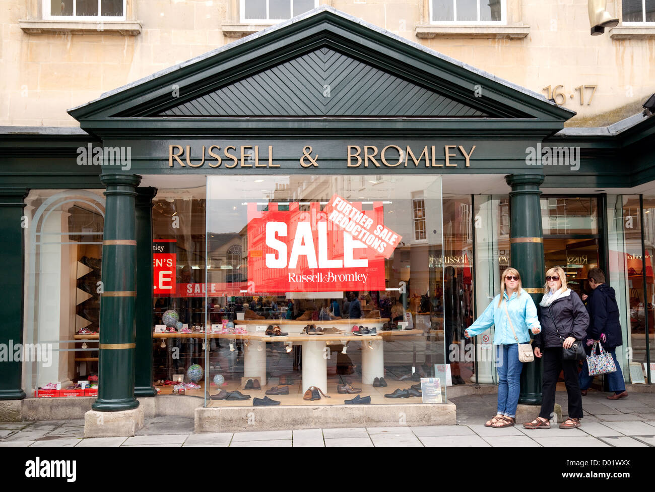 Russell & Bromley store shop in Bath having a sale, Bath, Somerset, UK - Stock Image
