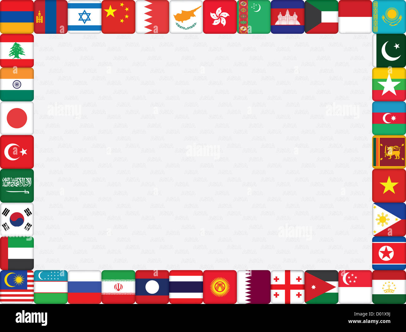 background with Asian countries flag icons frame Stock Photo ...