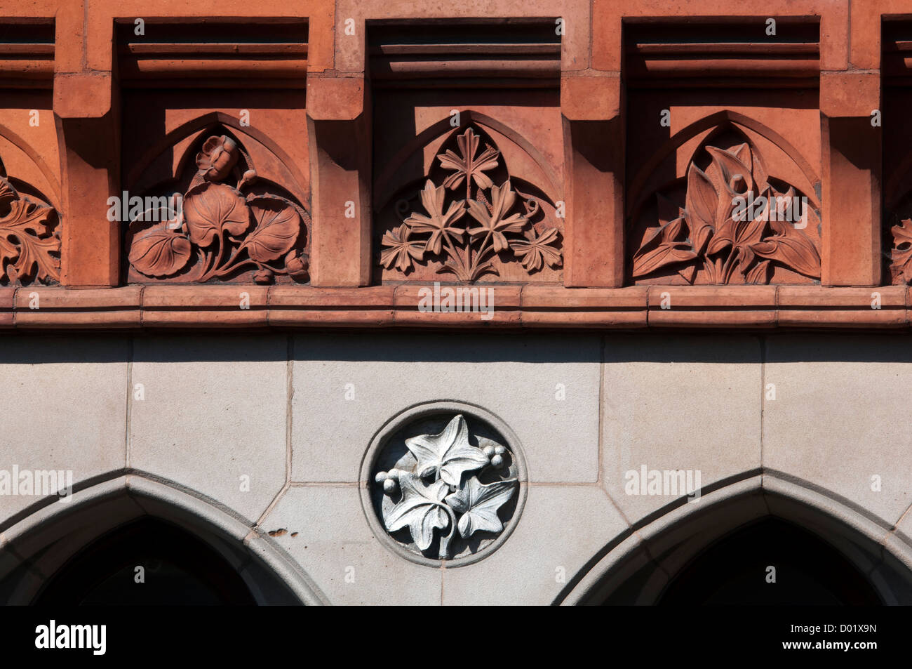 Terra-cotta frieze on the Old Bank building, Stratford-upon-Avon, UK - Stock Image