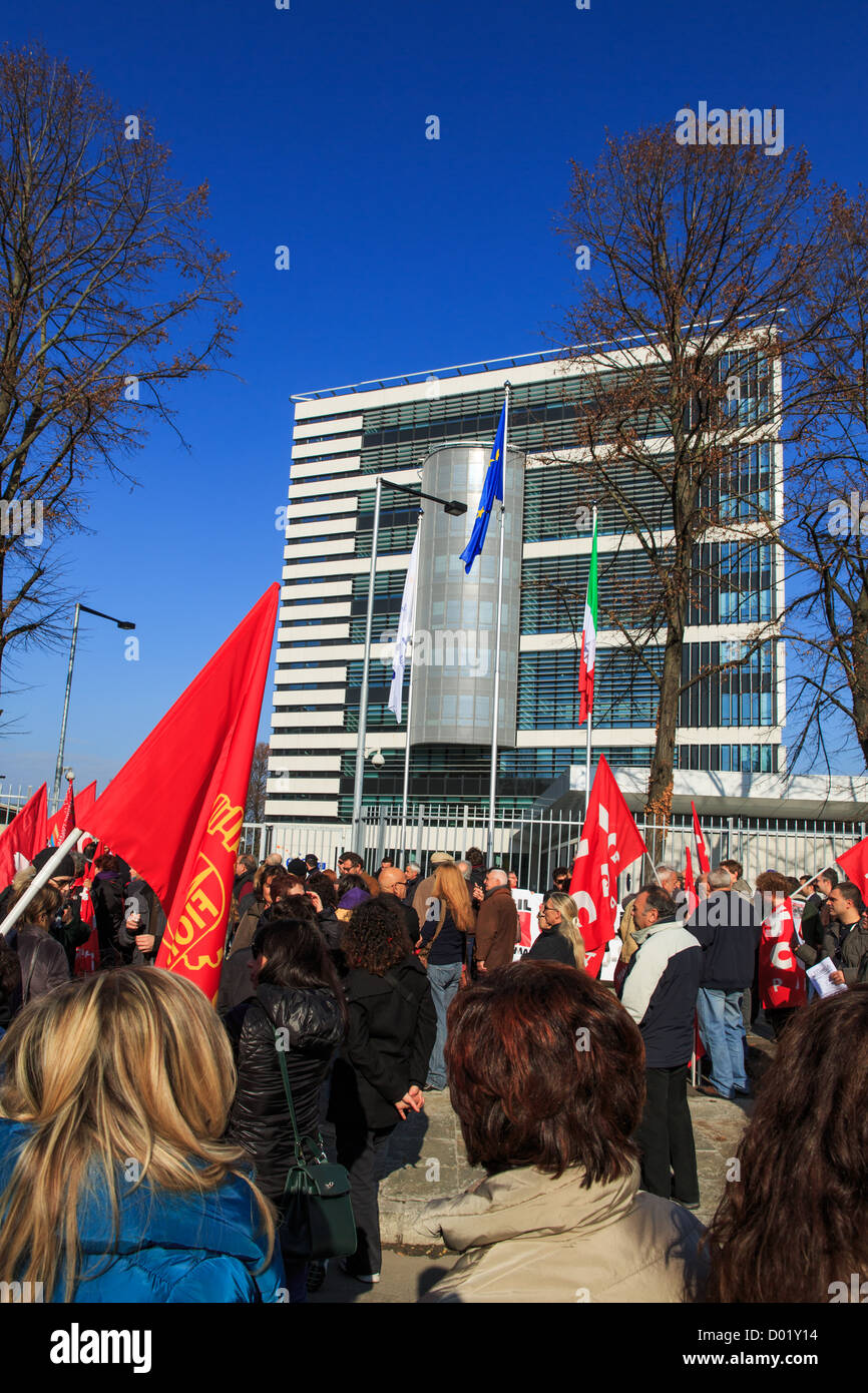 Demonstration in front of EFSA against the austerity measures, Parma, Italy - Stock Image