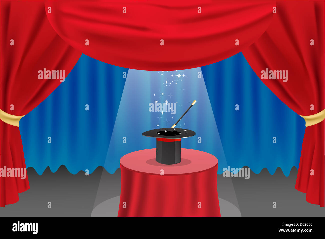 illustration of magic show on stage - Stock Image