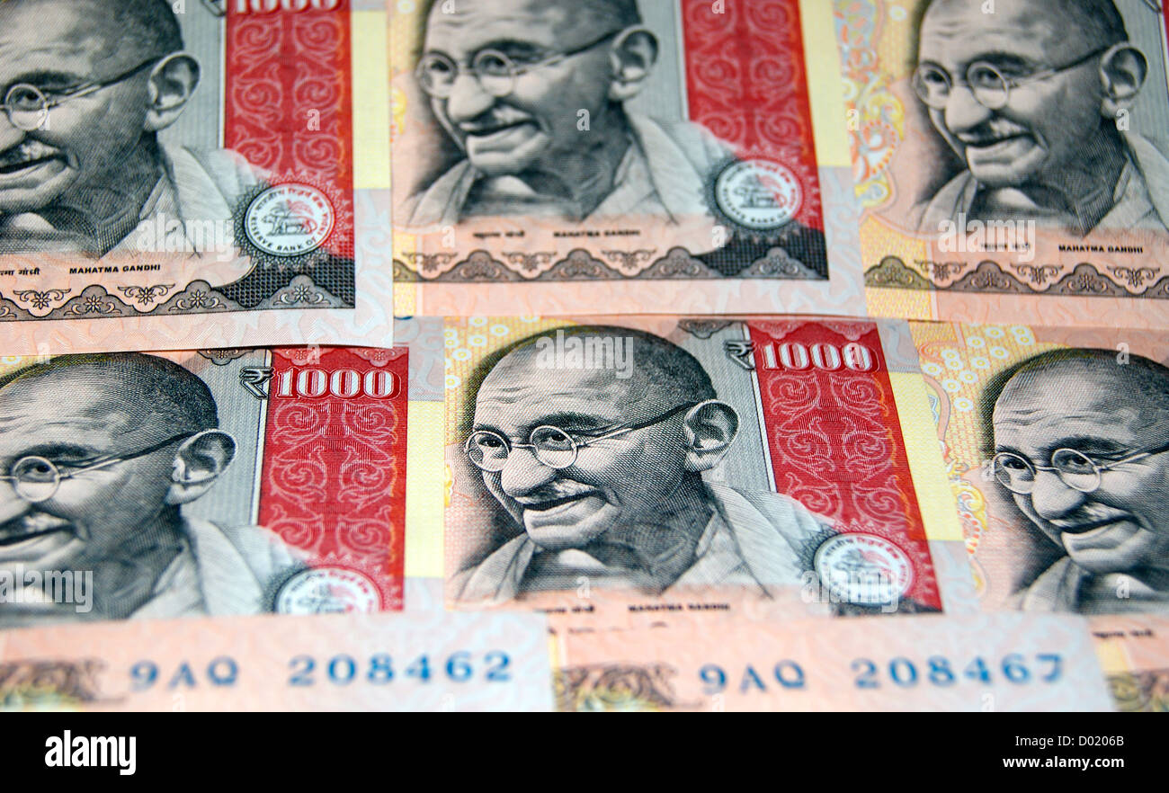 Mahatma Gandhi on Indian Currency 1000 Rupee Banknotes - Stock Image