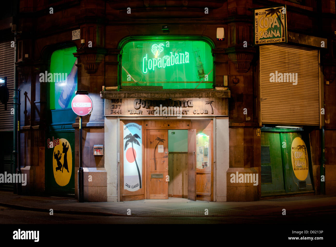 External shot of entrance of Copacabana latin club and bar on Dale Street in Northern Quarter, Manchester. - Stock Image