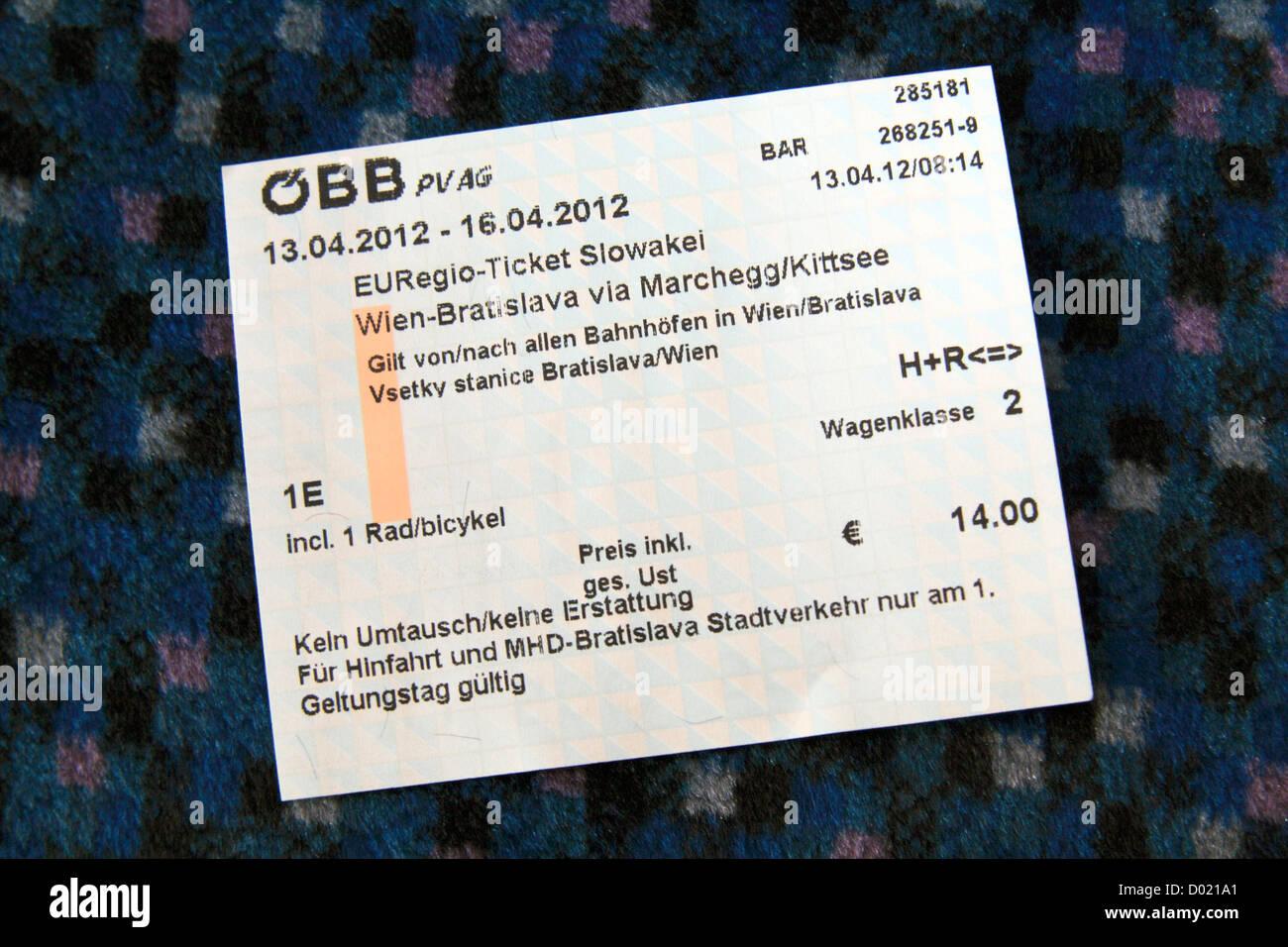 An Austrian Railways Obb Return Train Ticket Between Vienna Wien