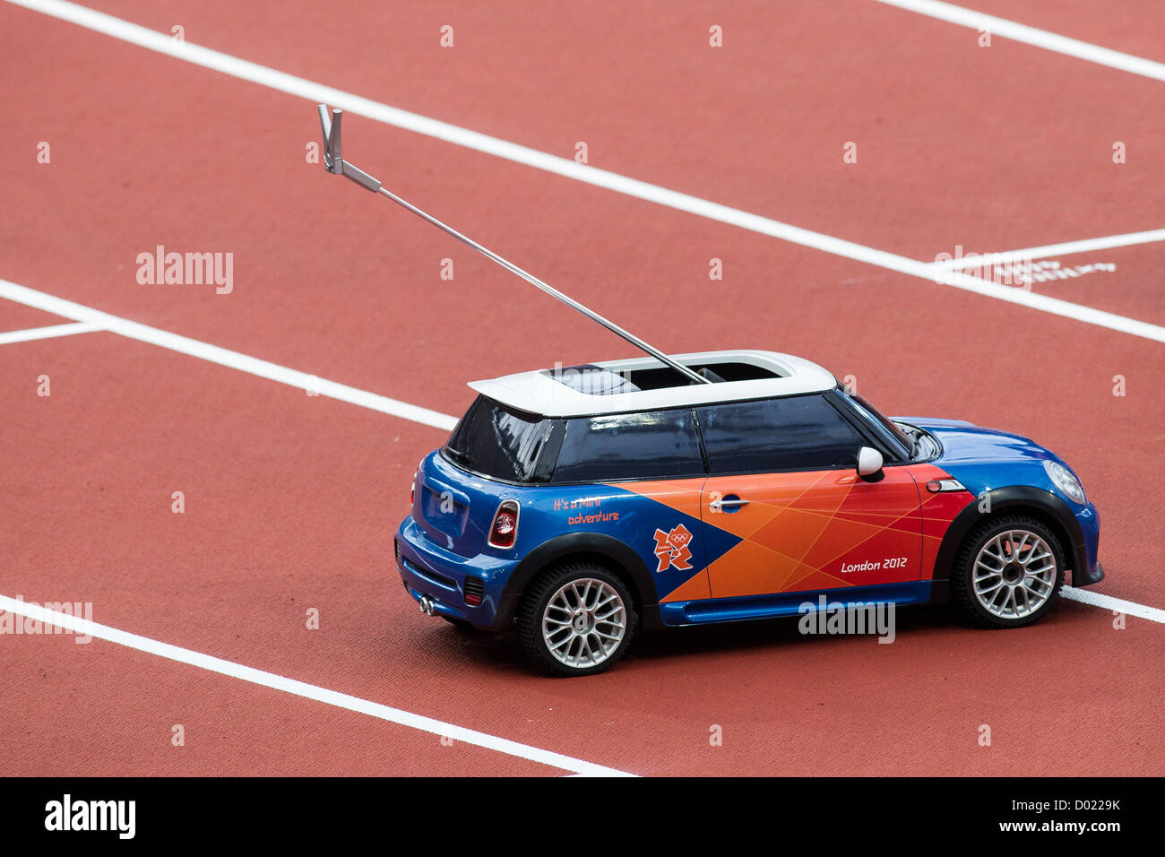 BMW Mini Javelin retrieval radio controlled car at the Olympic Summer Games, London 2012 - Stock Image