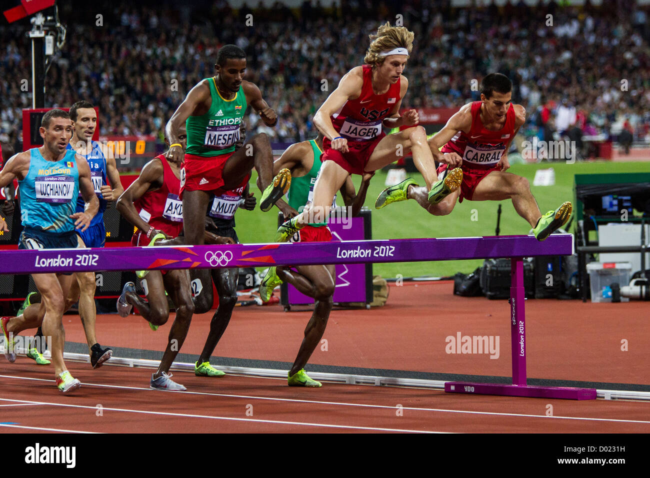 Men's steeplechase action at the Olympic Summer Games, London 2012 Stock Photo