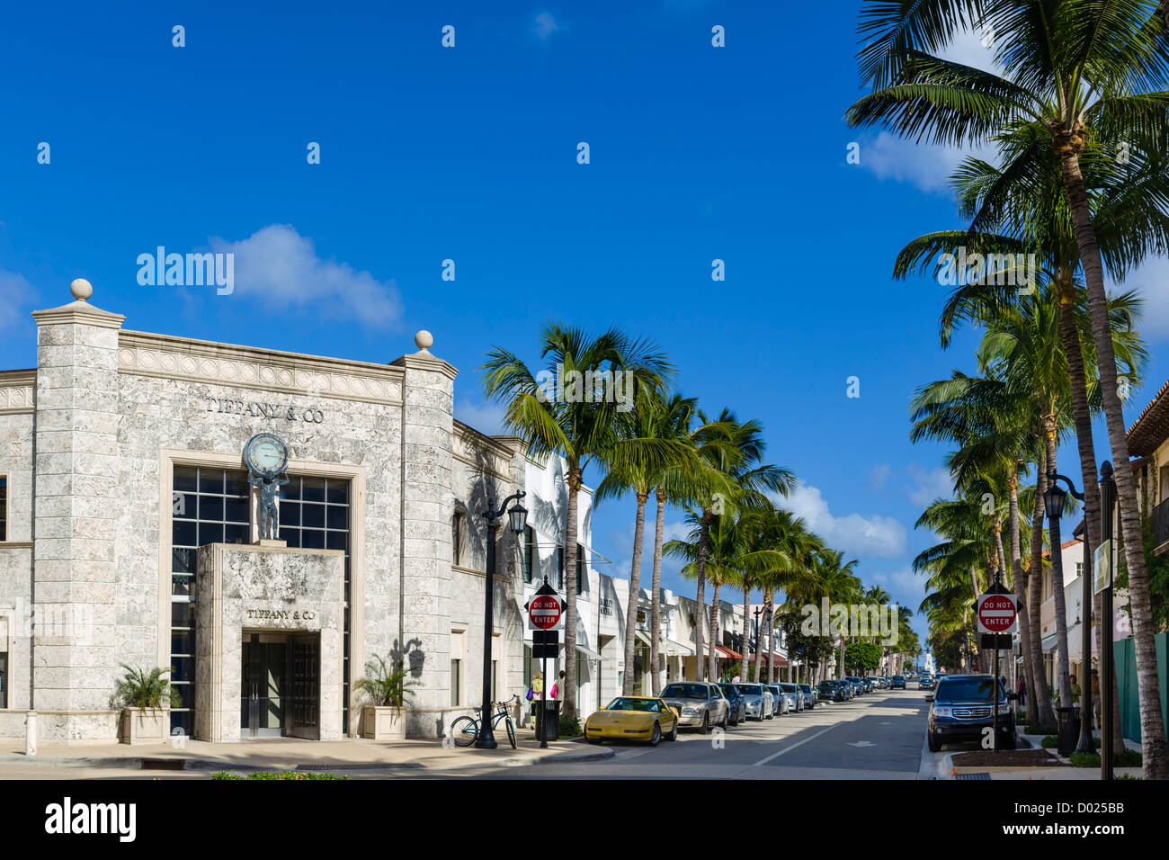 Stores on Worth Avenue in downtown Palm Beach with Tiffany & Co to the left, Palm Beach County, Treasure Coast, Stock Photo