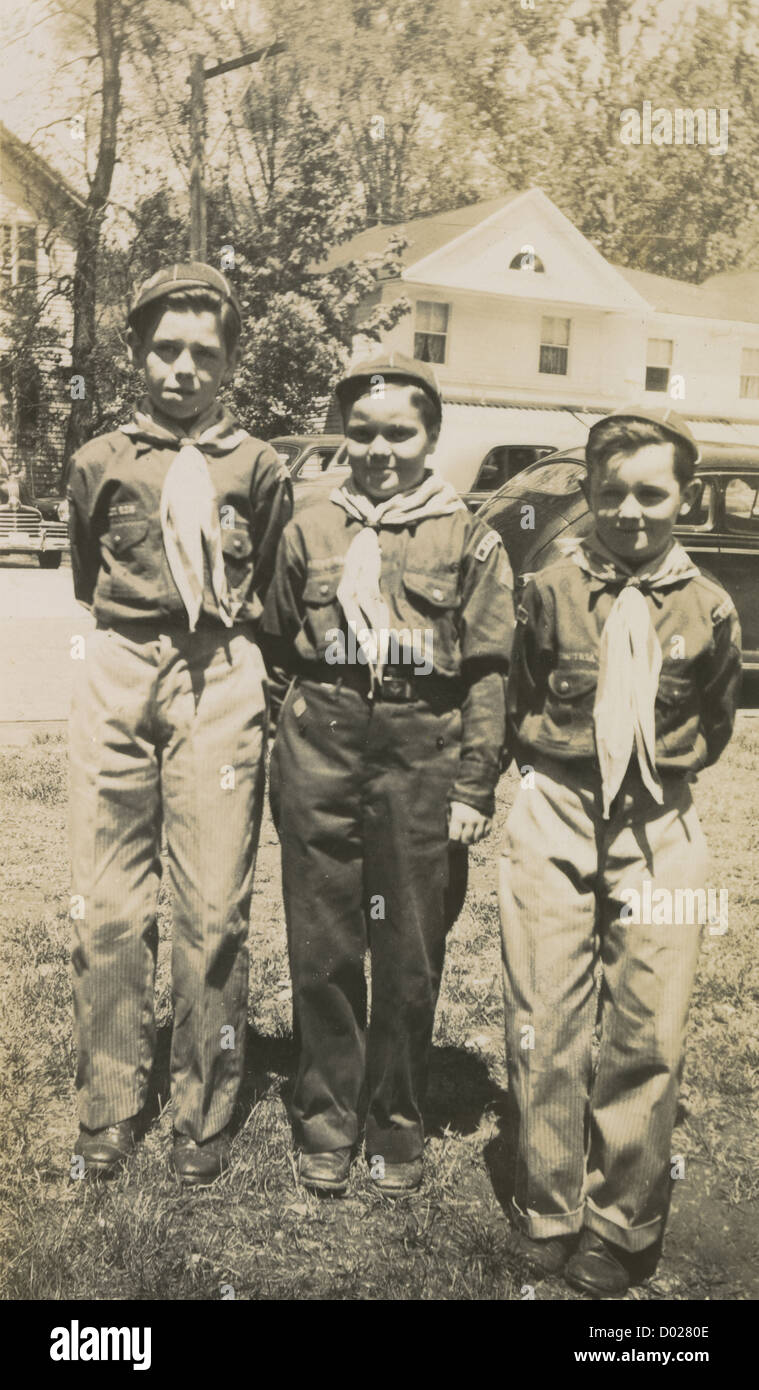 Circa 1930s photograph, three Boy Scouts, probably Massachusetts, New England, USA. - Stock Image