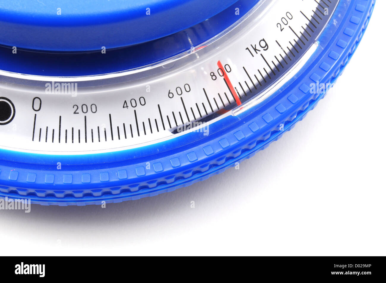 blue kitchen scales or balance showing cooking concept Stock Photo