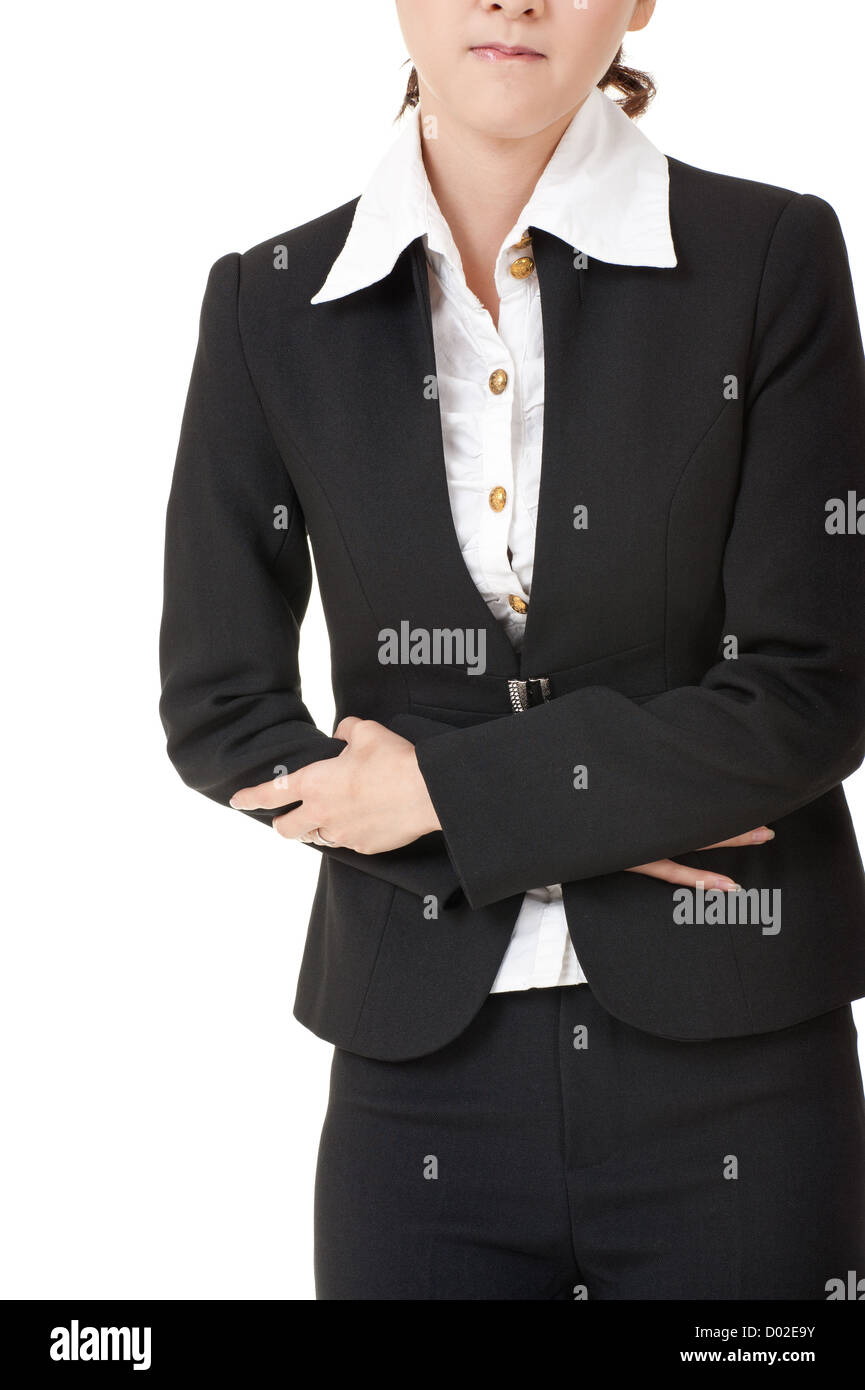 Business woman with stomach issues, closeup portrait on white. - Stock Image
