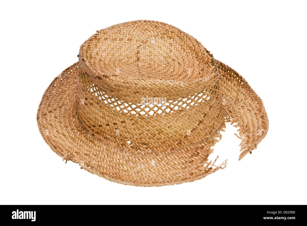 Rustic village people Ukrainian hat made of straw isolated Stock Photo