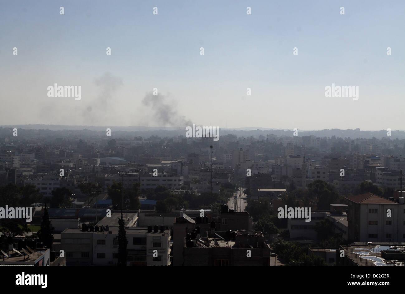 Nov. 15, 2012 - Gaza City, Gaza Strip, Palestinian Territory - Smoke rises over the Gaza Strip, 15 November 2012. - Stock Image