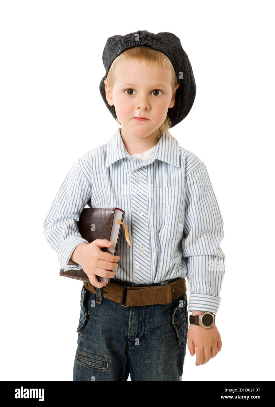 little serious businessman portrait isolated on white Stock Photo