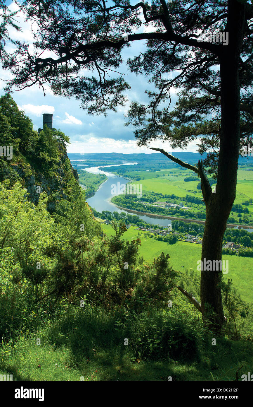Kinnoull Tower and the River Tay from Kinnoull Hill, Perth, Perthshire - Stock Image