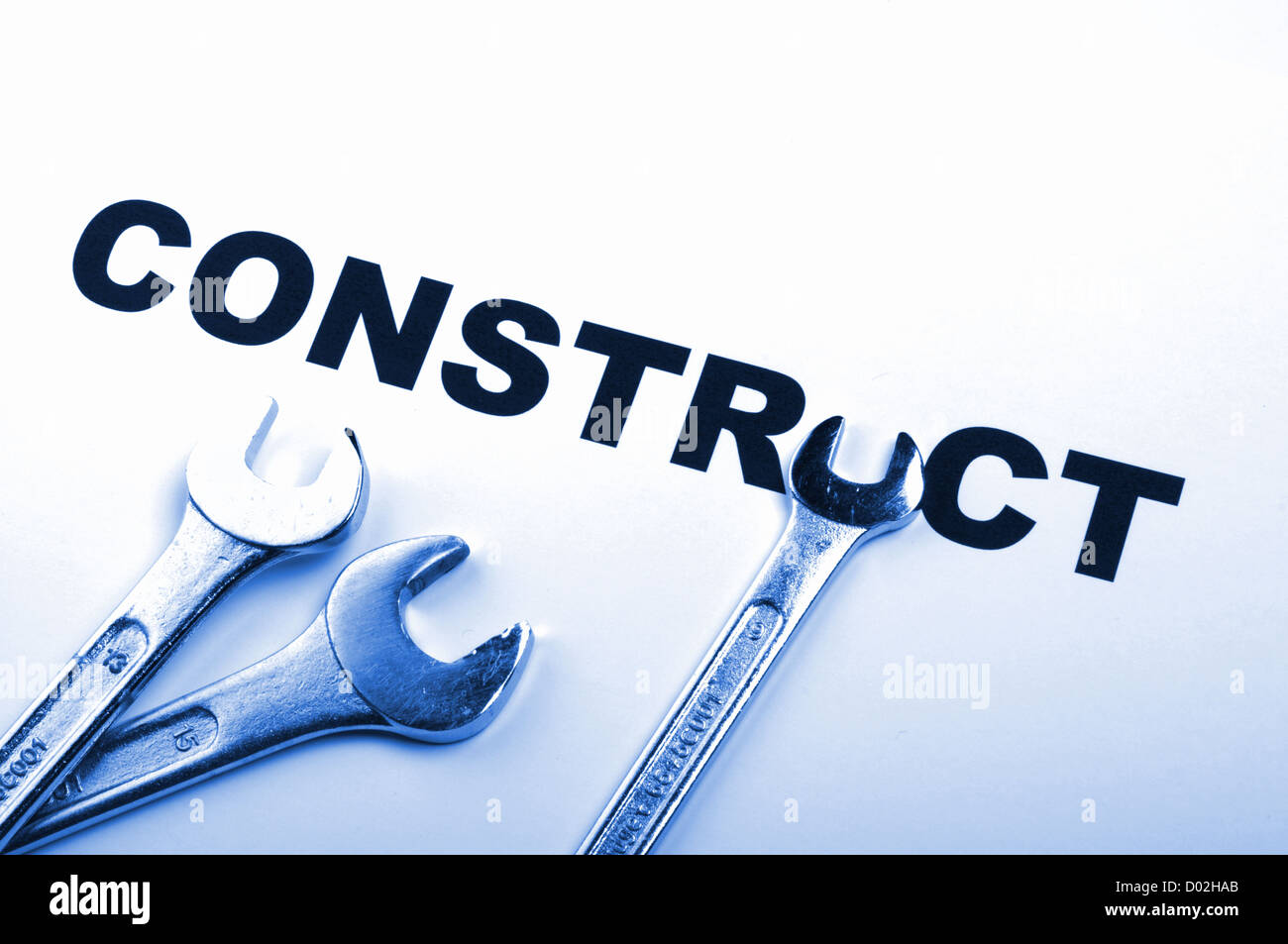 construct or construction concept with tool and word - Stock Image