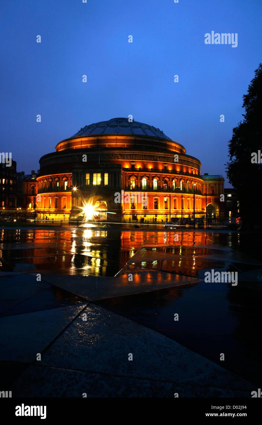 Royal Albert Hall lit up at night, South Kensington, London, UK - Stock Image