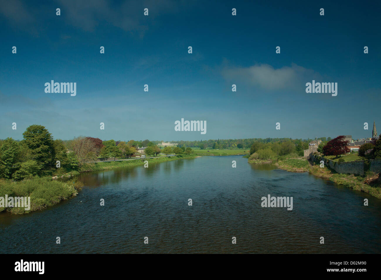 Floors Castle and the River Tweed from Rennie's Bridge, Kelso, Scottish Borders - Stock Image