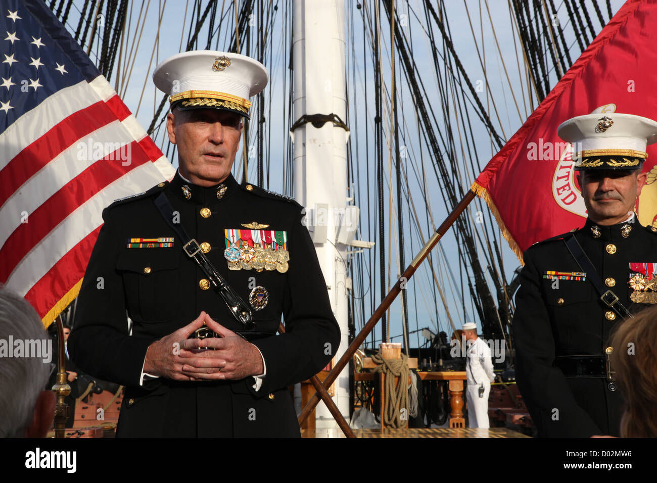 US Marine General Joseph Dunford, assistant commandant of the Marine Corps during a ceremony aboard the USS Constitution - Stock Image