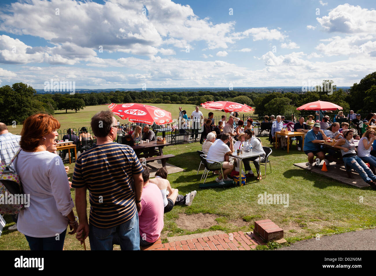 Open air summer concert at Oxleas Wood Cafe, London, UK, with Gambler. - Stock Image