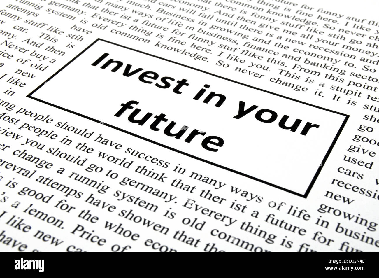 invest in your future concept with word message in newspaper - Stock Image