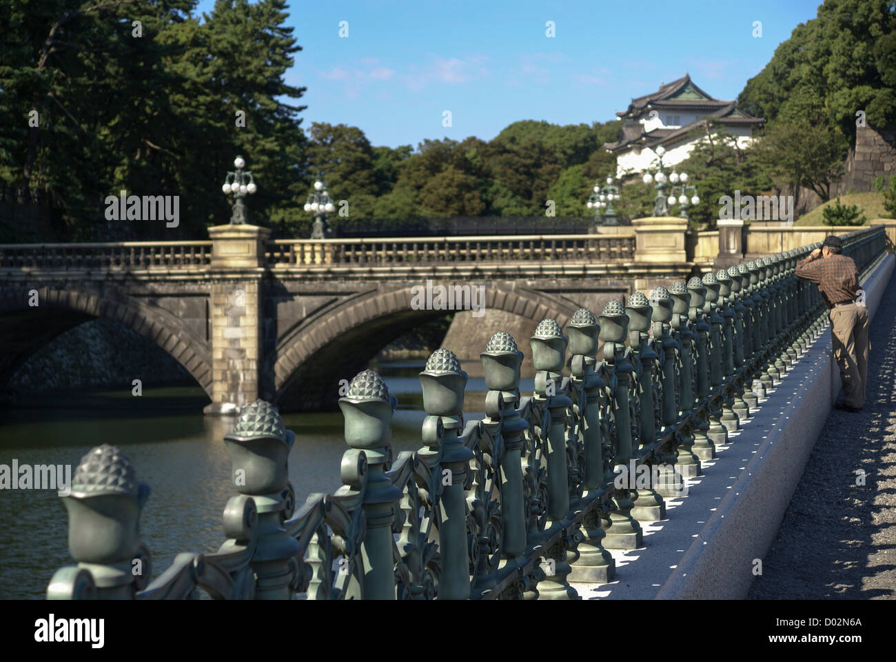 Japan, Tokyo View of Nijubashi bridge at Imperial Palace - Stock Image