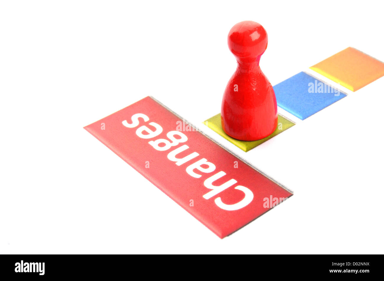 changes ahead business concept with pawn on white showing success - Stock Image