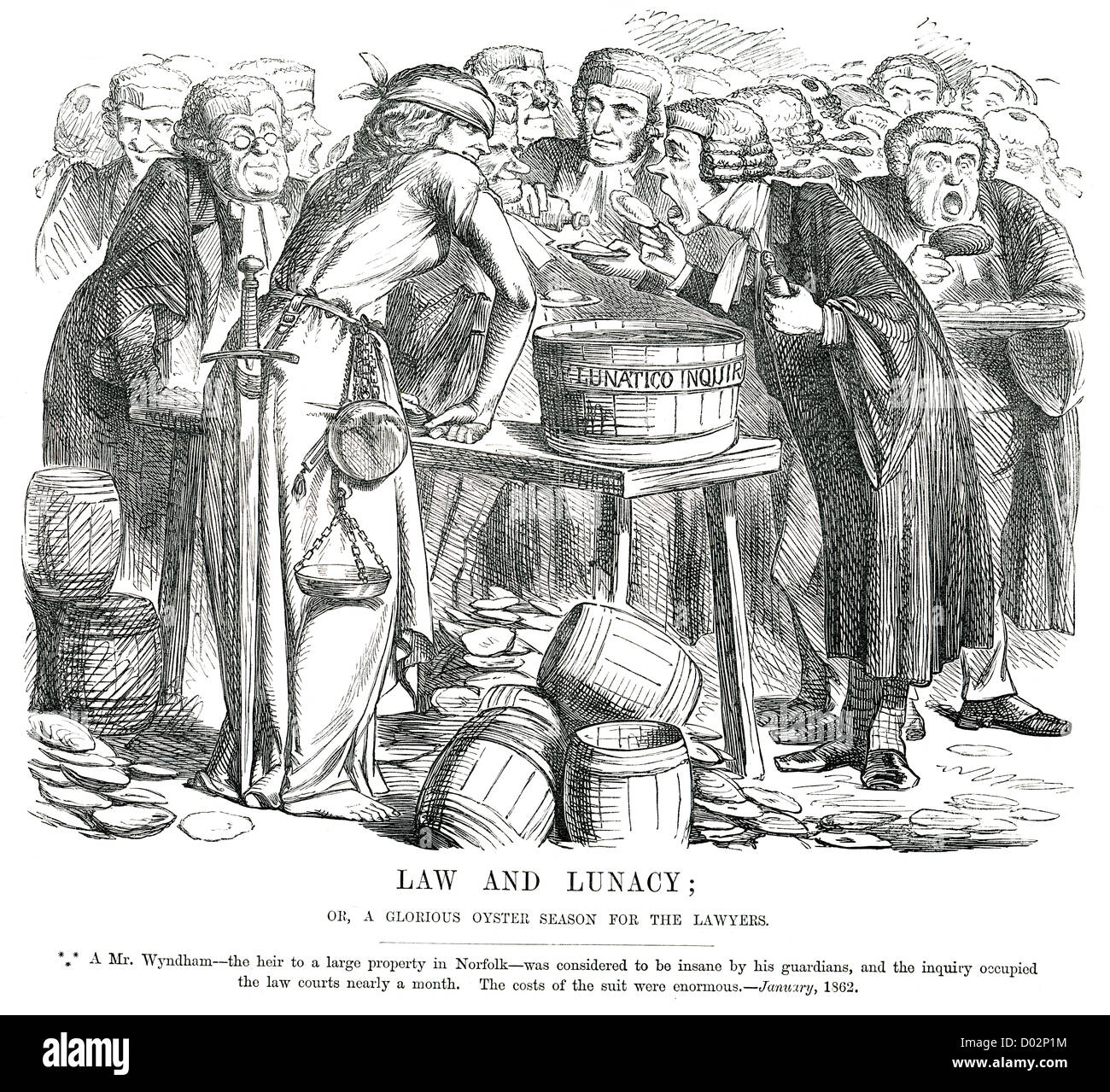 Law and Lunacy. Political cartoon about Wyndham Legal Case, January 1862 - Stock Image