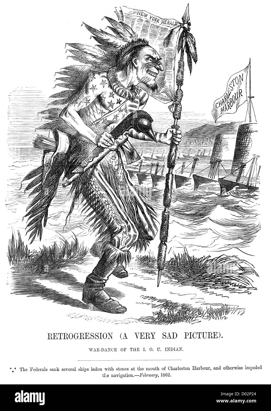 Retrogression War Dance Of The Iou Indian Political Cartoon About