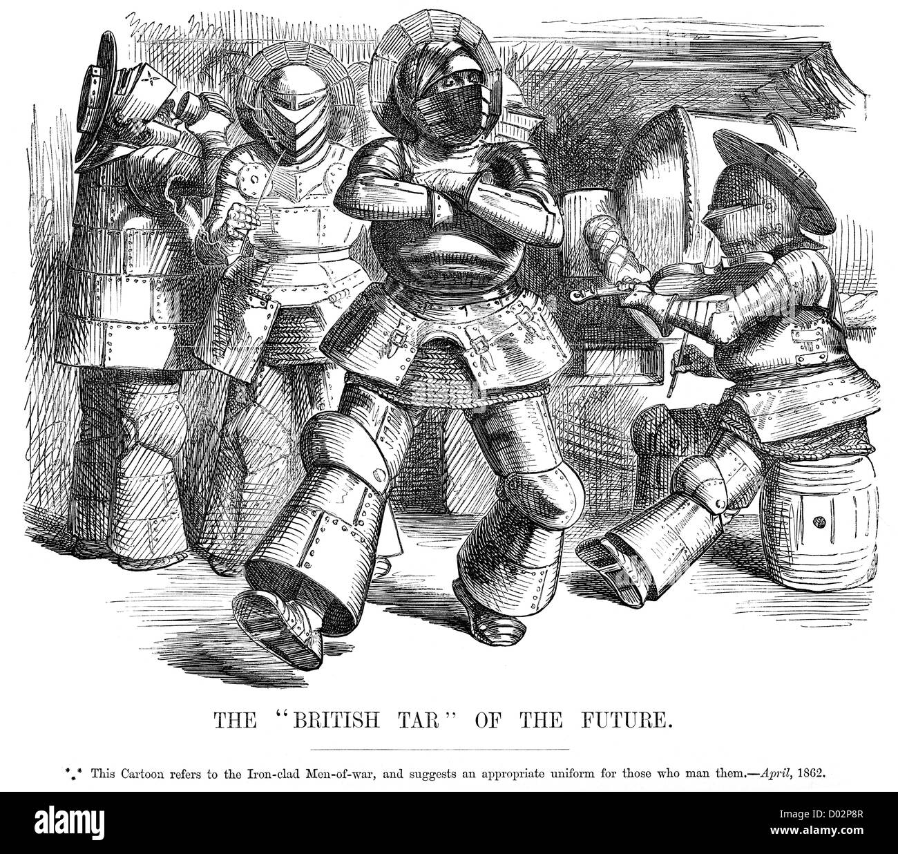 British Tar of the Future. Political cartoon about the rising of Ironclad Warships, April 1862 - Stock Image
